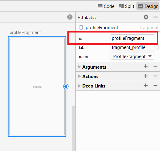 The Attributes panel in Navigation Design view