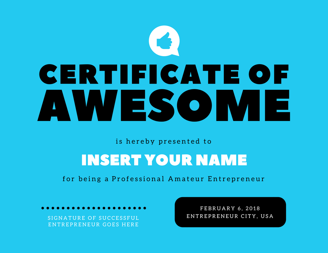 Certificate For Being Awesome Topsimages