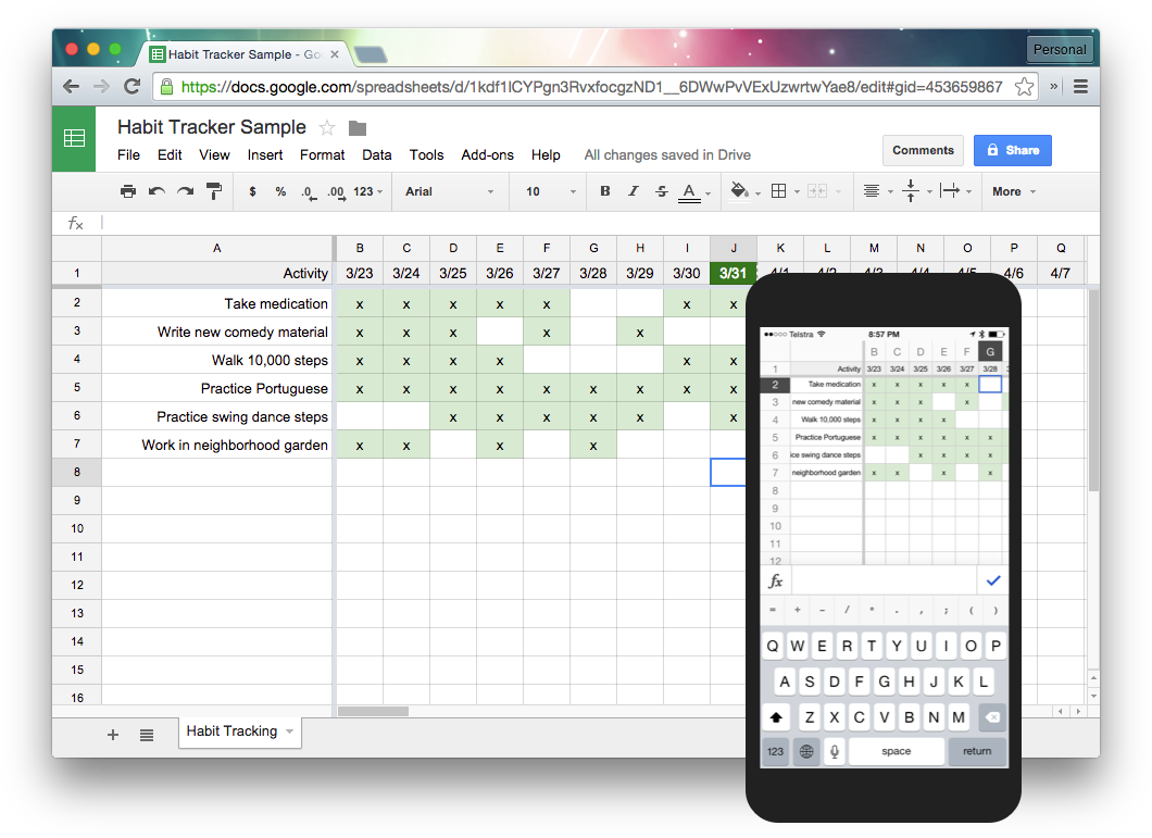 plenty of apps exist for this but i like to use spreadsheets because thats what im comfortable with google sheets works on my laptop and phone