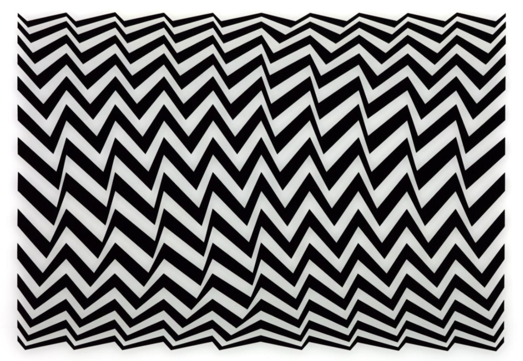Black and white chevron pattern by Bridget Ryley called Fragments from 1965