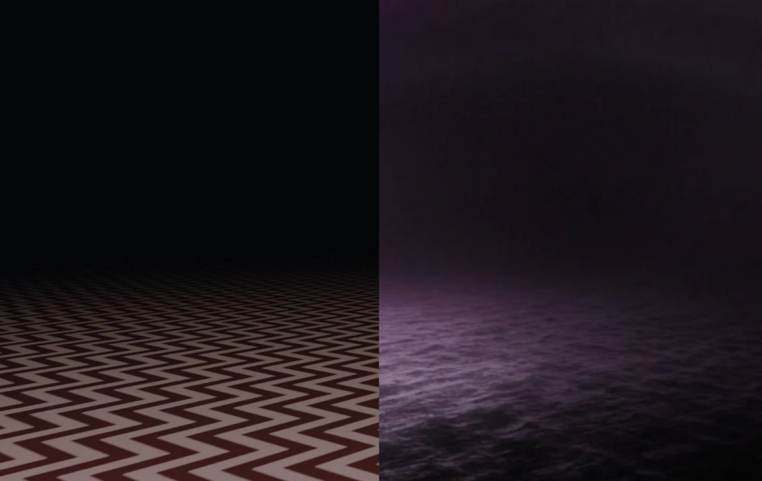 Red Room without curtains juxtaposed to purple ocean without shore.
