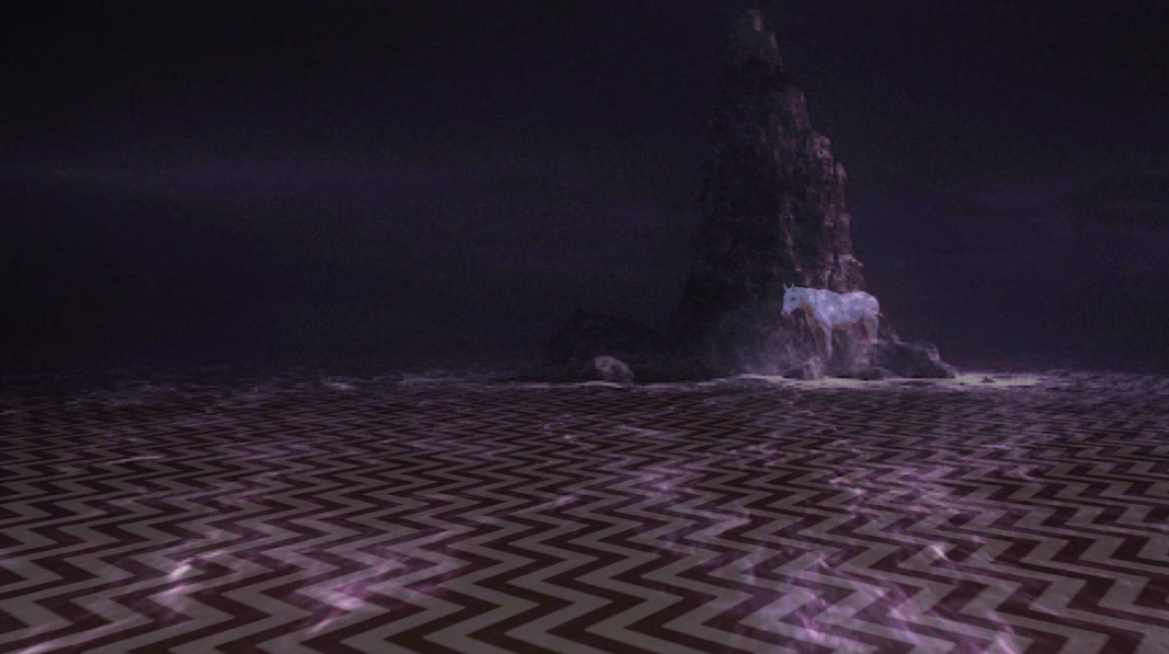 The white horse and chevron scene From Part 1 on top of the purple ocean and island scene from Part 8. They line up so well.
