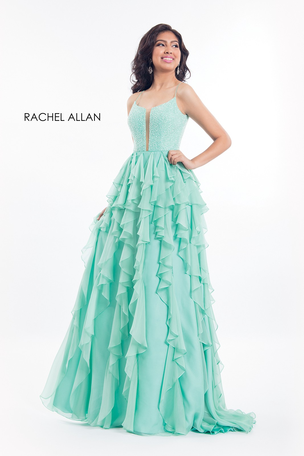 Get ready in the mint color fit and flare Prom Gowns 2018 ...