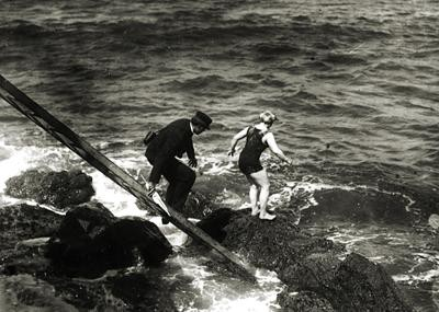 Photo of Hazel Bess Laugenour, a Dolphin Club swimmer, who was the first woman to swim across The Golden Gate Strait in 1911.