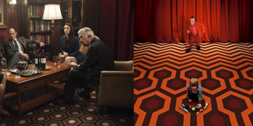 The parlor from Part 12, carpet from The Shining, and the Arm dancing in the Red Room.