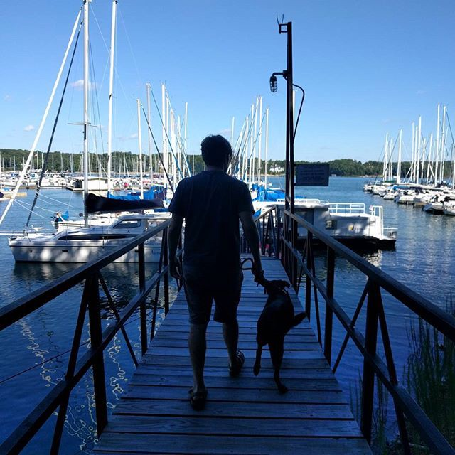 Michael and Kaylana walking down a dock