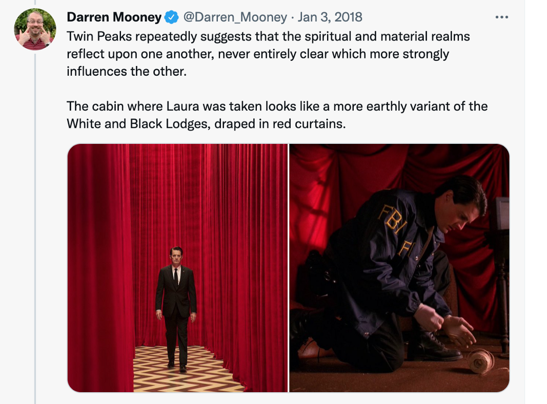 Tweet from Darren Mooney showing the Red Room and the Cabin.