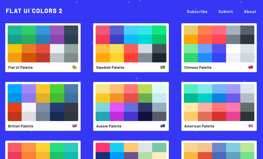 Flat Ui Colors 2 13 Countries 13 Designers 13 More Color Palettes