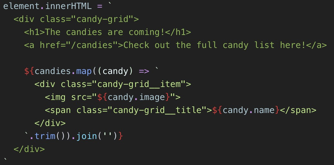 frameworkless javascript template literals with html syntax highlighting