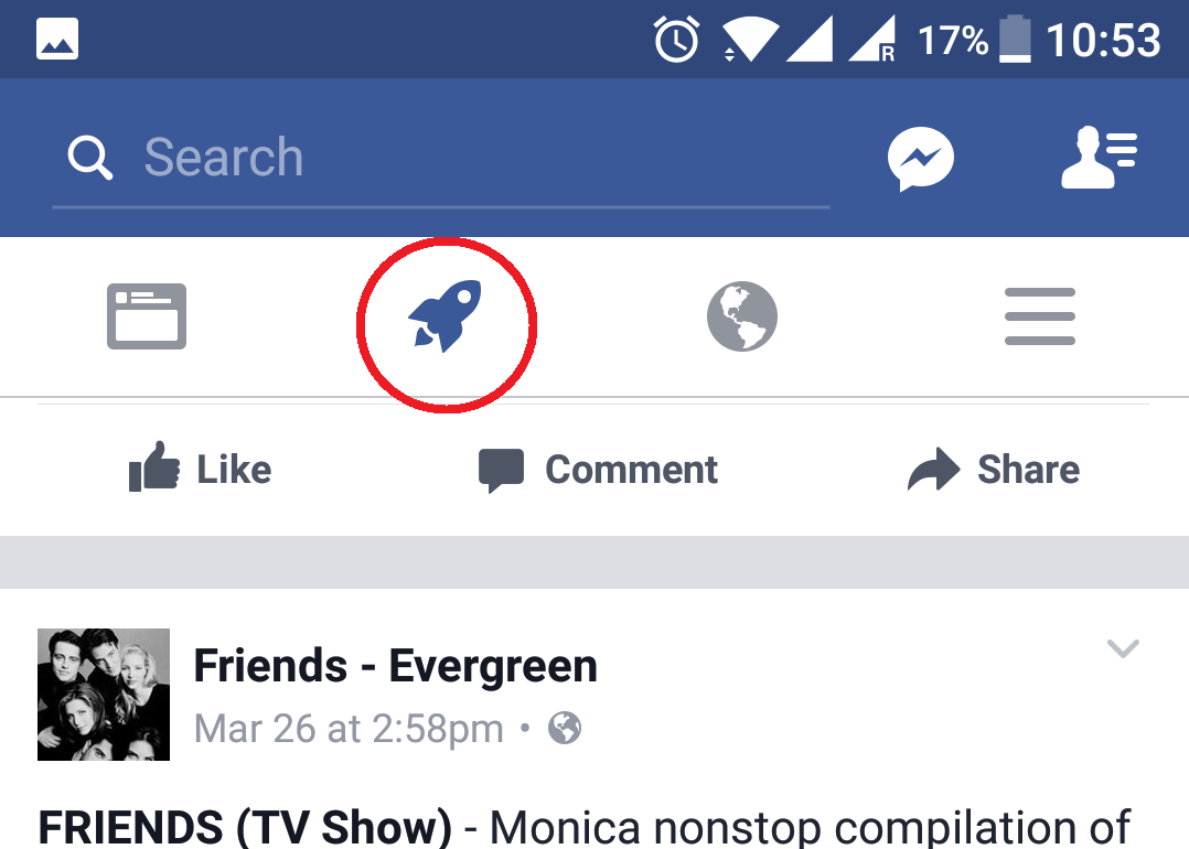 Facebook start exploring feature rolled out for beta testers rocket symbol on facebook app beta version biocorpaavc Images