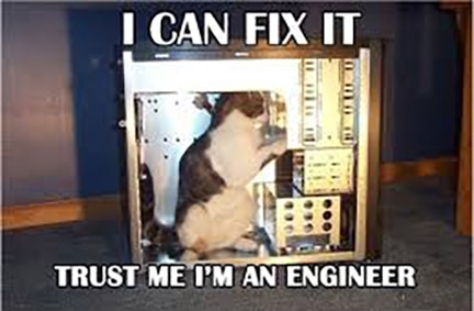Customer Service - I can fix it trust me I'm an engineer - cat in a computer