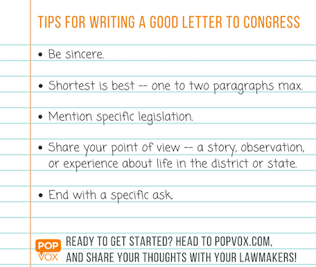 how to write a good letter to congress