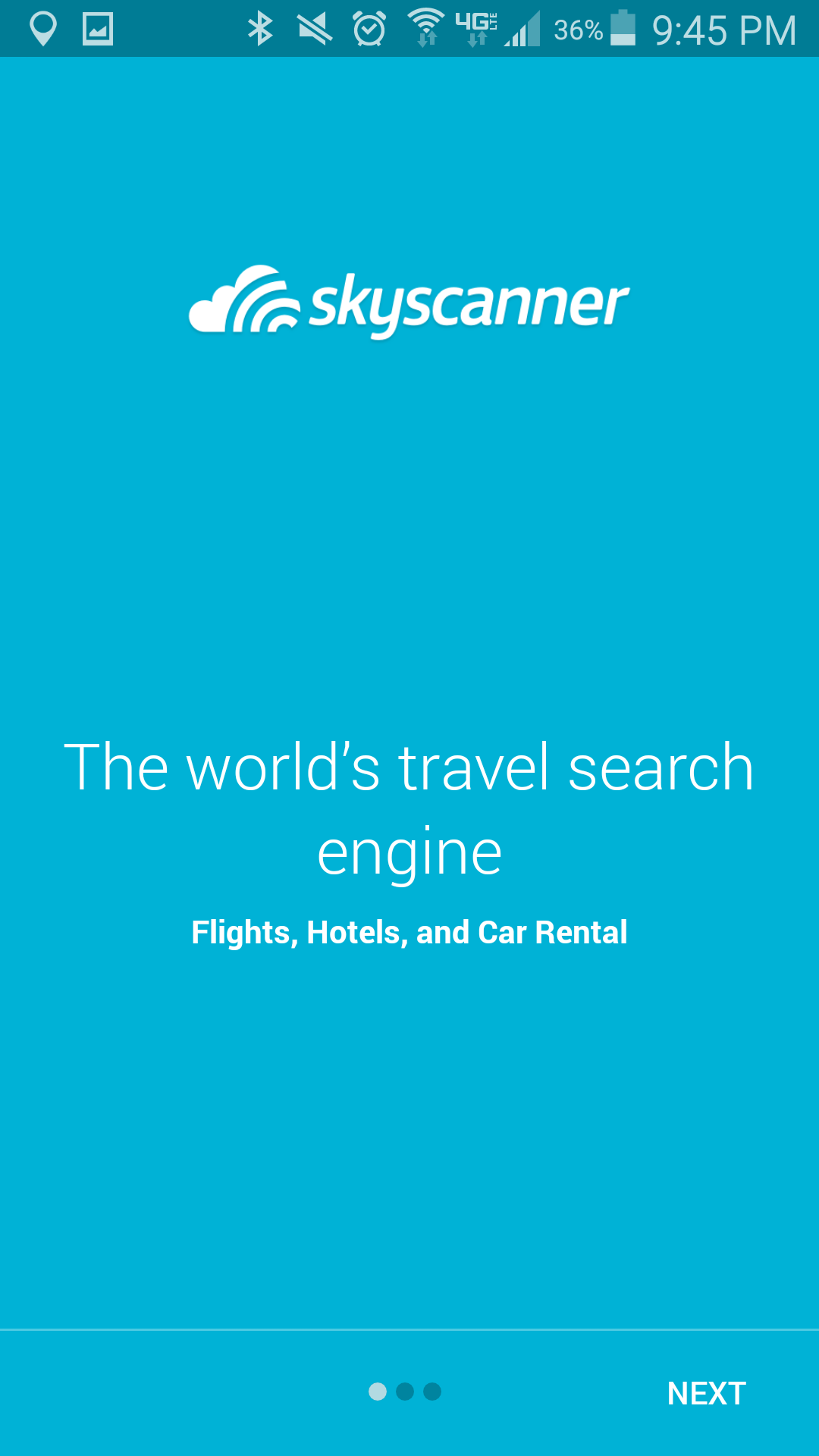 The First Page Of Skyscanner App Shows Recognisable Logo And What Company Is Used For Flights Hotels Car Rentals