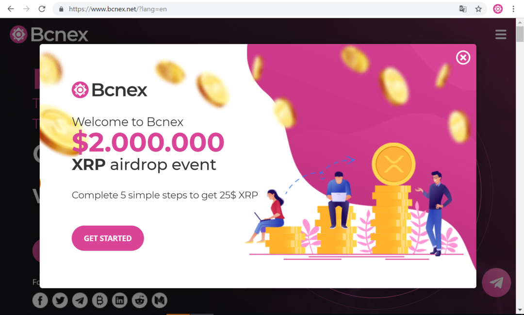 Super Airdrop $2,000,000 in XRP from Bcnex Exchange — Up to