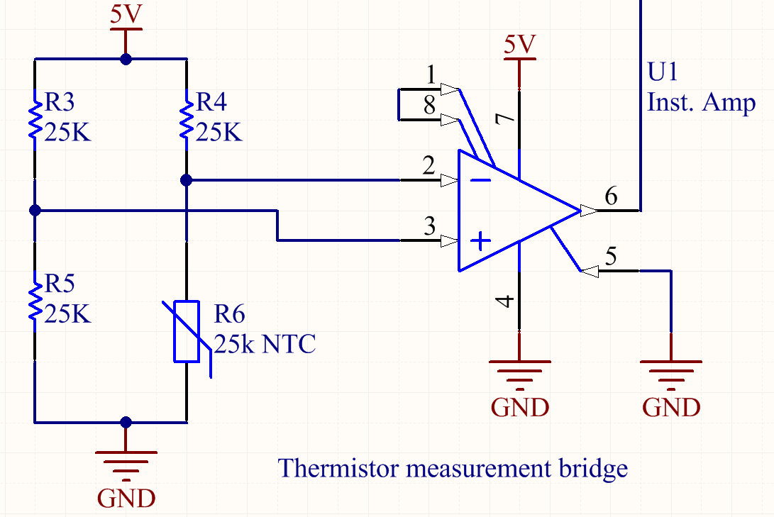 Ntc Thermistor Bridge Principles Of Engineering Refilament Medium Wheatstone Wiring Diagram In Order To Do The Temperature Management I Wired Up A With Three Other 25k Resistors Measure Precise