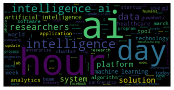 This is a word cloud generated from the AI articles collected using only nouns - Source: Omdena