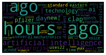 This is a word cloud generated from the AI articles collected - Source: Omdena