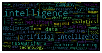 This is a word cloud generated from the AI articles collected and after custom filtering words - Source: Omdena