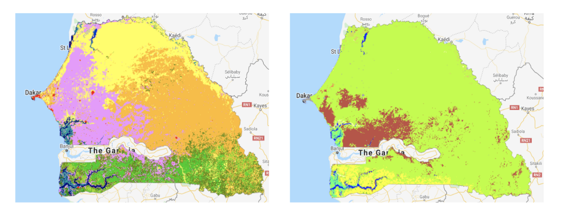 Senegal land cover seen by Copernicus Land Cover - GEE