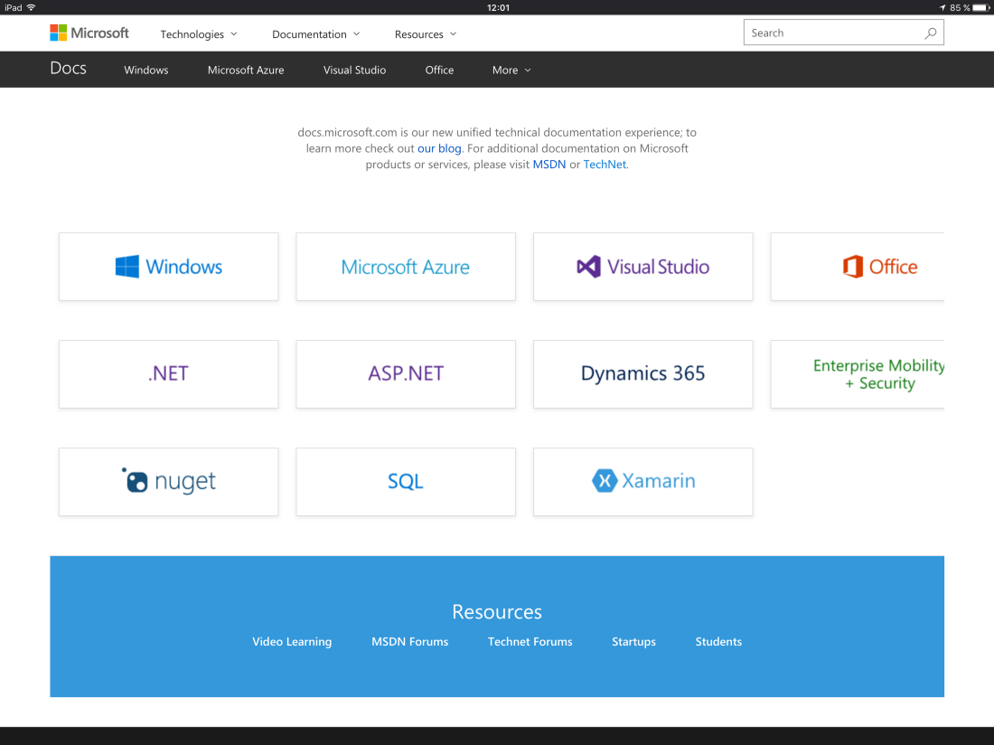 Microsoft Docs — The new Documentation location