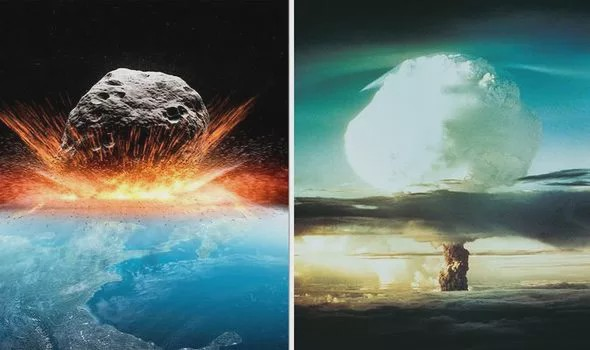 The impact of an asteroid hitting earth is depicted.