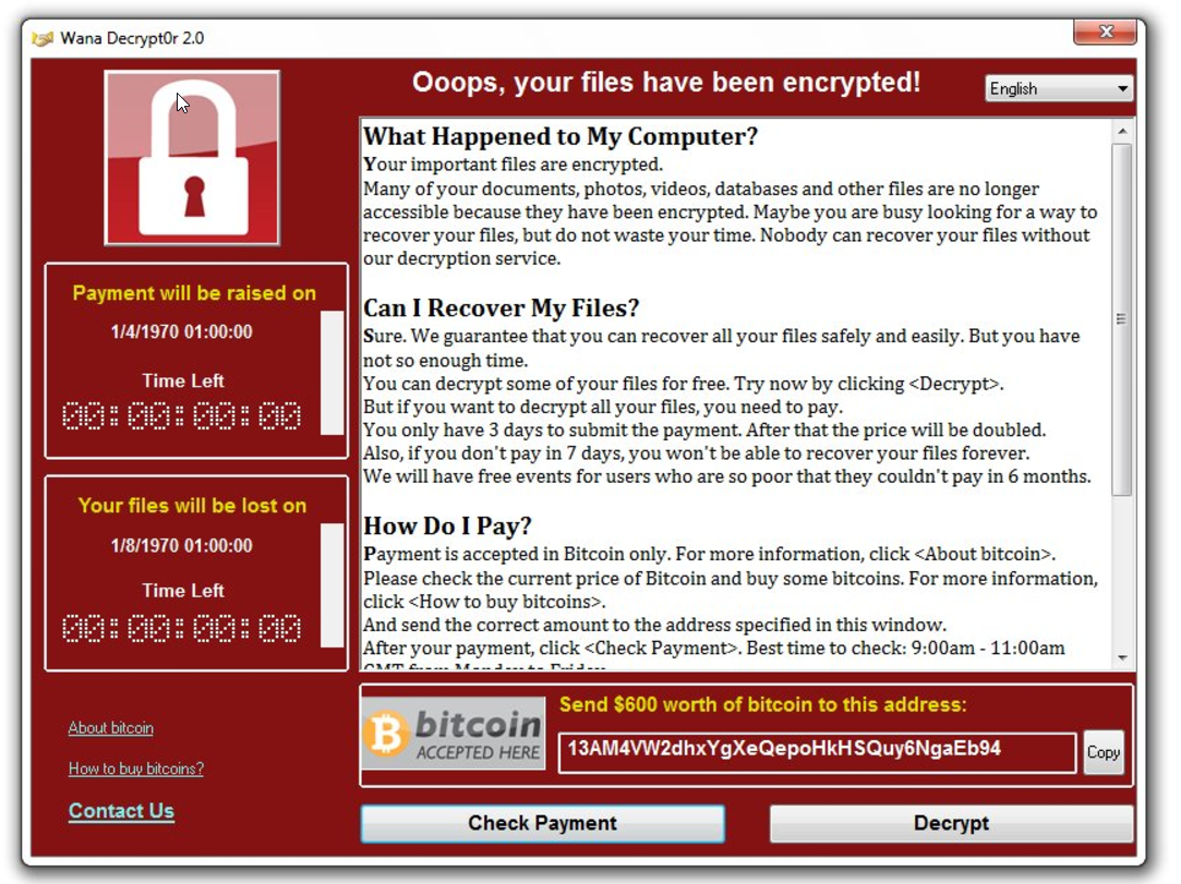 Quick Update: Protect yourself from WannaCry Ransomware