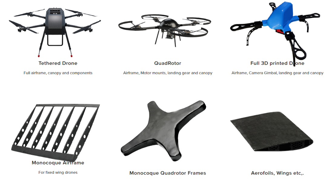 Fabheads in-house collection of drones and their parts made out of 3D printing