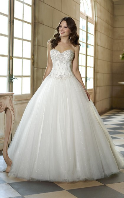 587cd30ad4d Charming Ball Gown Sweetheart Beading Sequins Lace Sweep Brush Train Tulle Wedding  Dresses