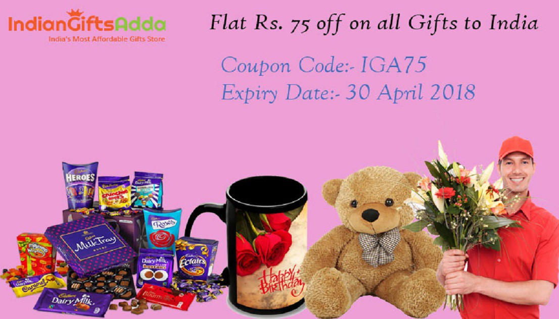 Flat Rs 75 Off On Sending All Gifts To India From Indiangiftsadda