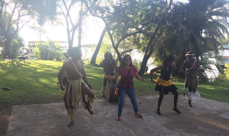 The author dancing in Zimbabwe: traveling while aging