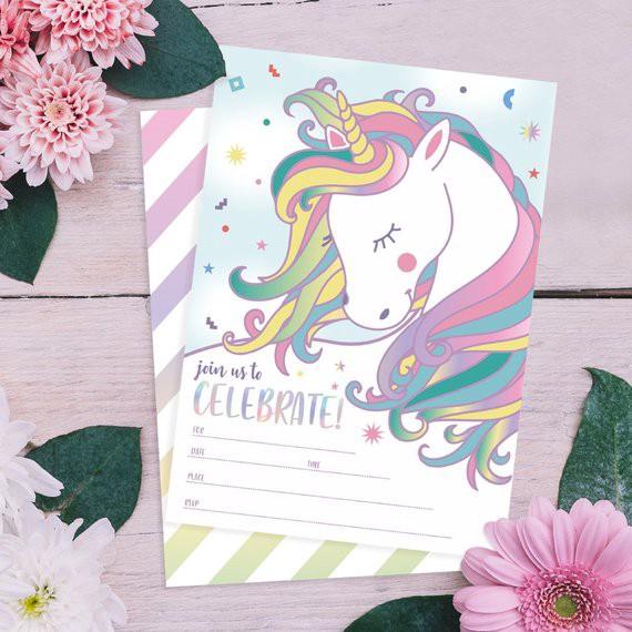 Buy Personalized Cute Colorful Handmade Bday Invitation Card And Unicorn Party Decorations