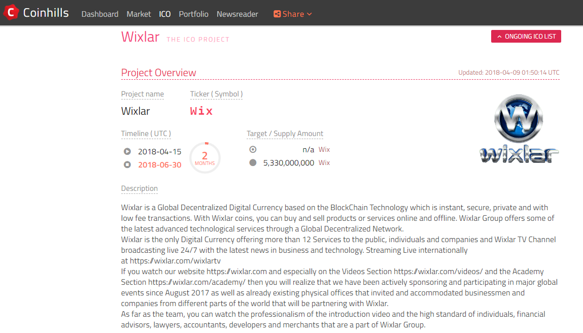 Wixlar Ico Is Live Now On Coinhills Wixlar Coin Medium