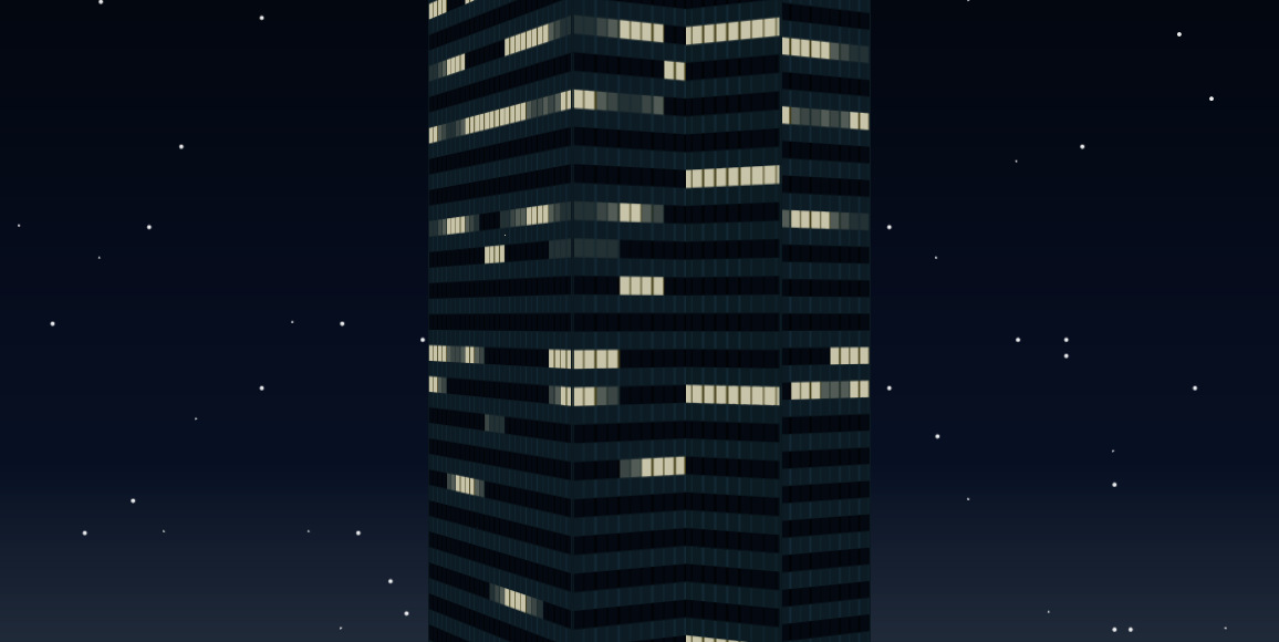 Experiment 2 360 View Skyscraper At Night Made Only With CSS Gradients And 3D Transforms