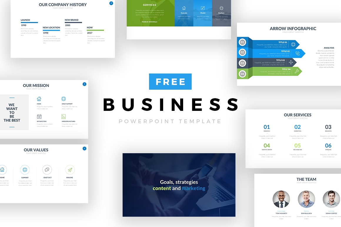 25 free cool powerpoint templates for presentations this business ppt template is great to show your companies values missions history and services take advantage of this free perfect business ppt toneelgroepblik Choice Image