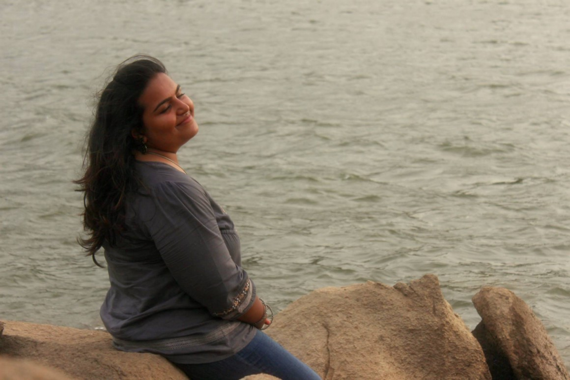 Vinisha at the Sanapur Lake: Her expression says it all!
