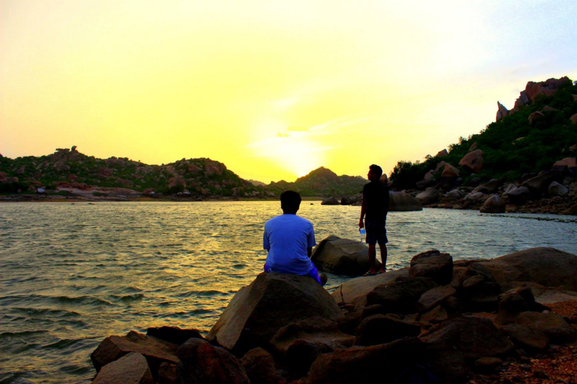 Roy and Ramy admiring the beauty of Sanapur