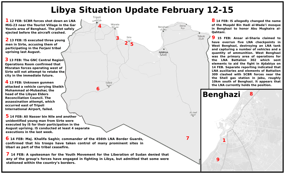 Libya situation update february 1215 libya security monitor medium 12 feb scbr forces shot down an lna mig 23 near the tourist village in the gar younis area of benghazi the pilot safely ejected before the aircraft publicscrutiny Gallery