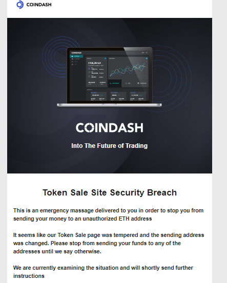 Cryptocurrency Warning Coindash Token Sale Site Security Breach