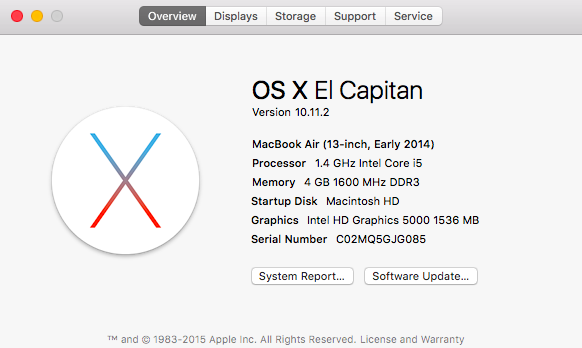 My OSX version is 10.11