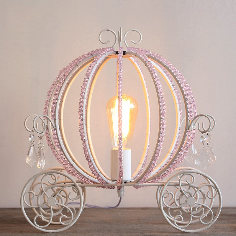 Best Rolita White Metal Beaded Cinderella S Carriage Single Light Table Lamp For Kids Room