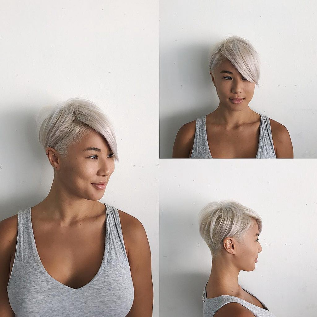 Short Textured Undercut With Long Side Swept Bangs And Platinum Color