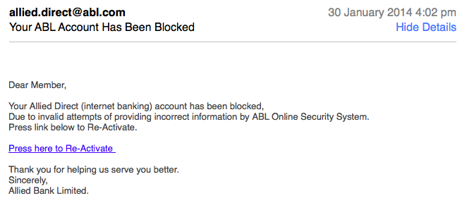 Allied Bank Phishing Emails