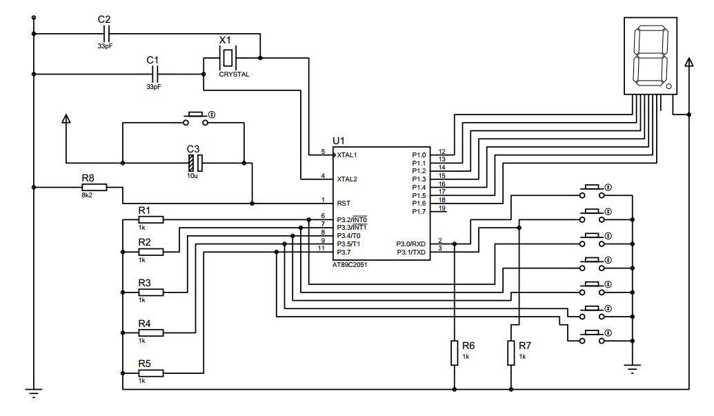 At89C2051 Programmer Circuit Diagram | Simple Octal Keyboard Using At89c2051 Microcontroller