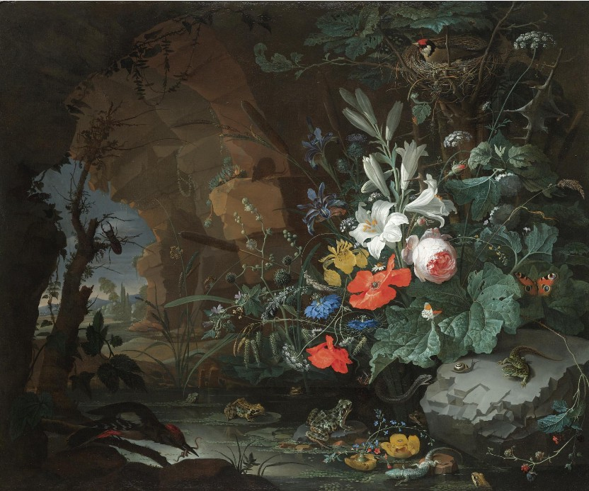 Abraham Mignon—Interior of a grotto with a rock-pool, frogs, salamanders and a bird's nest