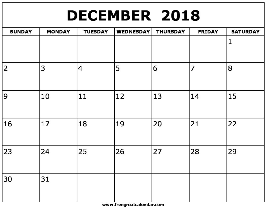 Blank December 2018 Calendar Printable Gloria Wilson Medium