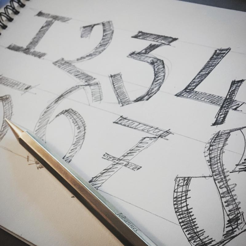Iterative type design - applying the same shapes to numbers