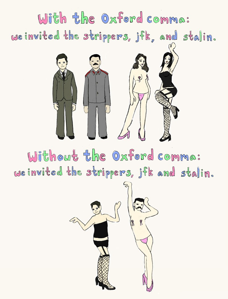 examples of oxford comma use