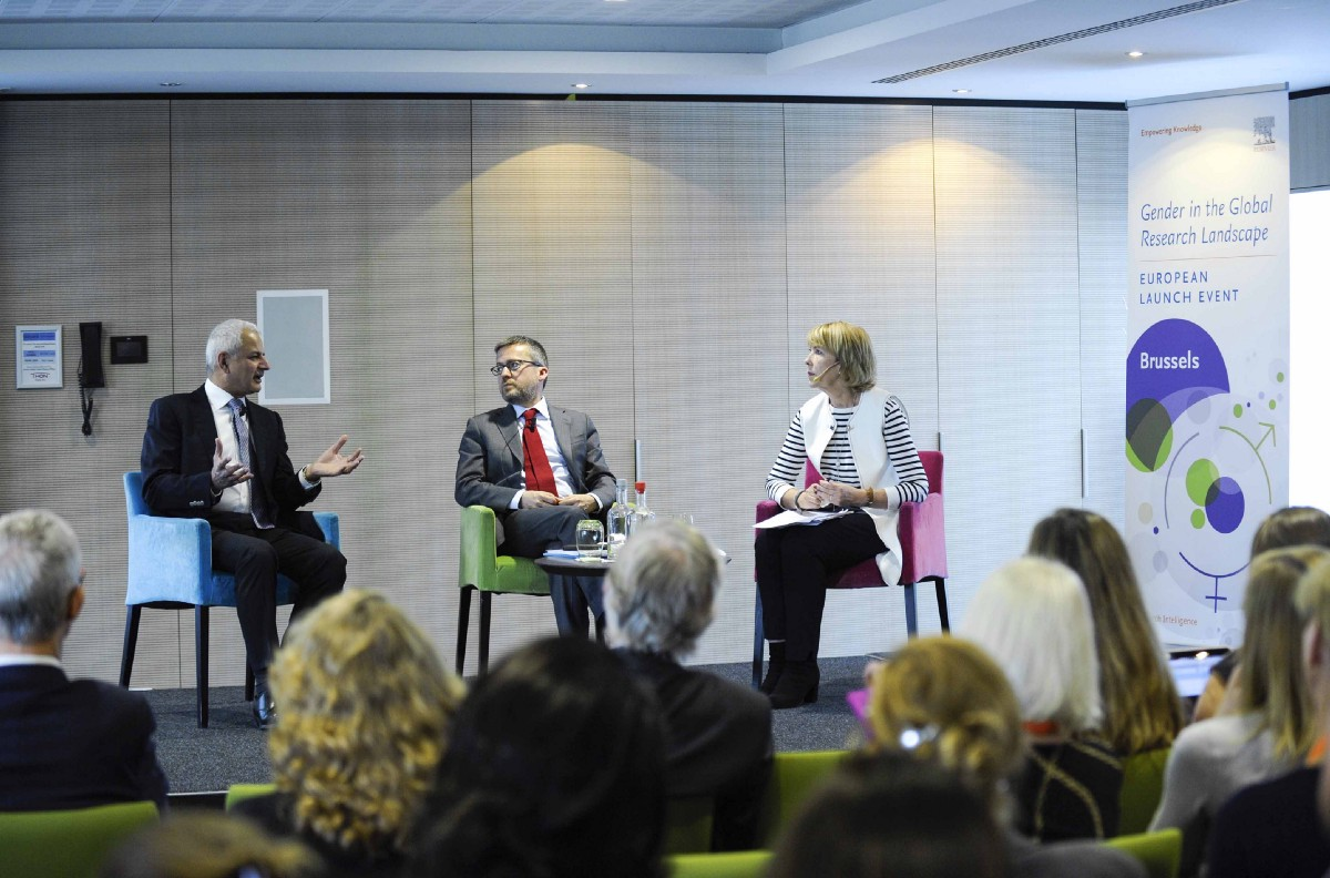 Elsevier CEO Ron Mobed, Commissioner Carlos Moedas and moderator Cathy Smith discussed gender balance in research on 12 May. Image courtesy of Elsevier