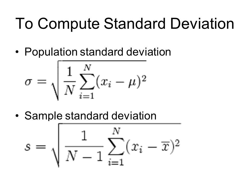 Derivation of standard deviation.