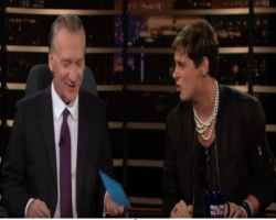 screencap of Bill Maher and Milo Yiannopoulos on 'Real Time' 02/17/2017